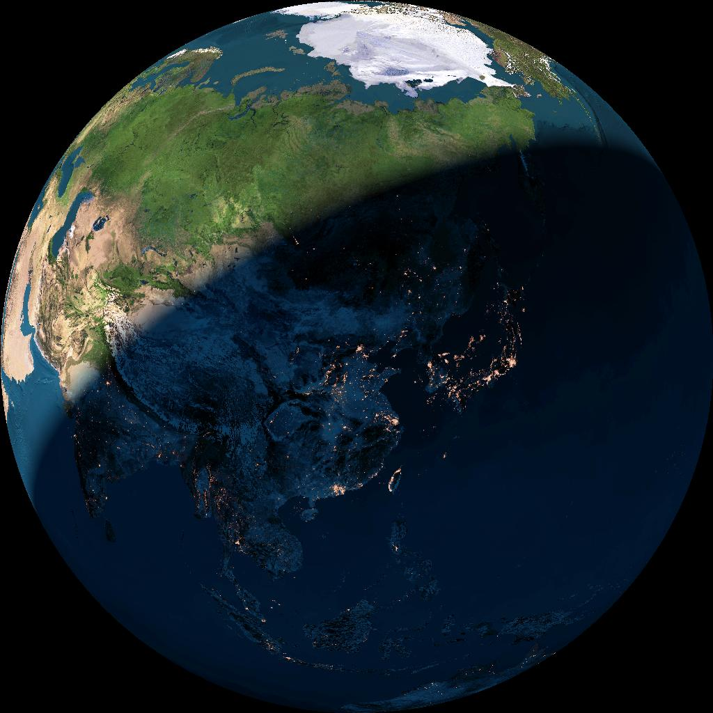 Image of the globe centred on China