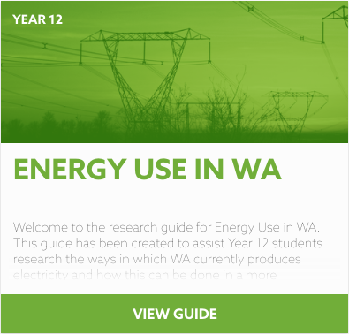 Energy Use in WA reading list
