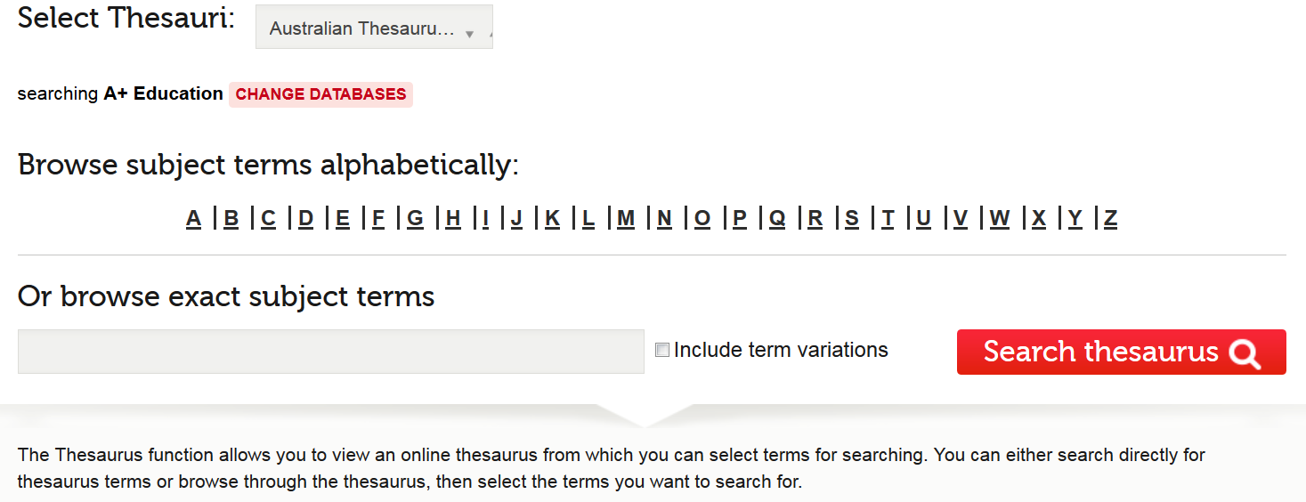 The thesaurus screen in the A+ Education database (Informit), showing the browse/search box and browse list.
