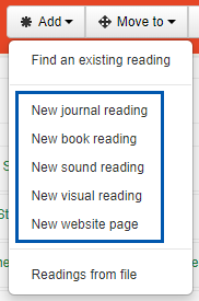 other add a reading options