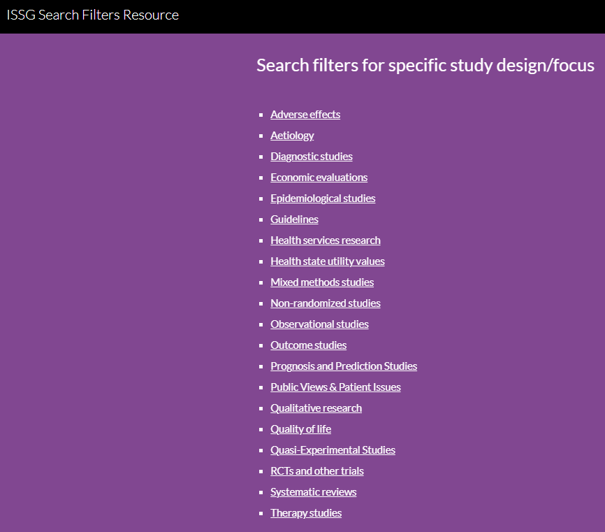 screenshot of web page ISSG search filters resource