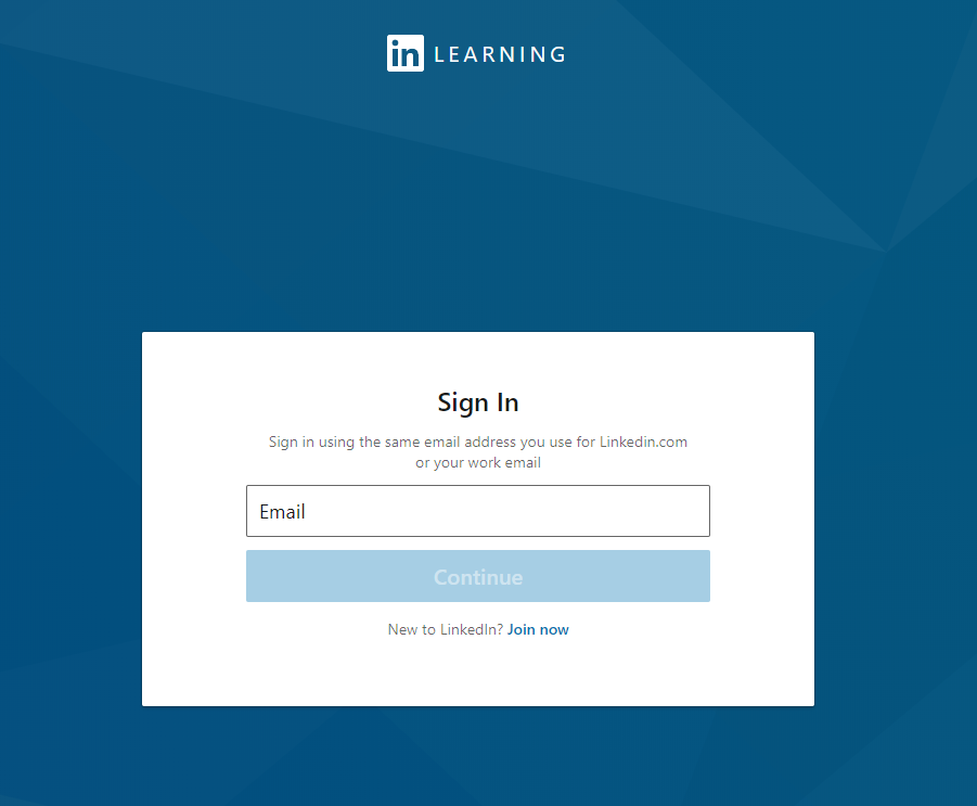 linked in learning sign in with email screenshot