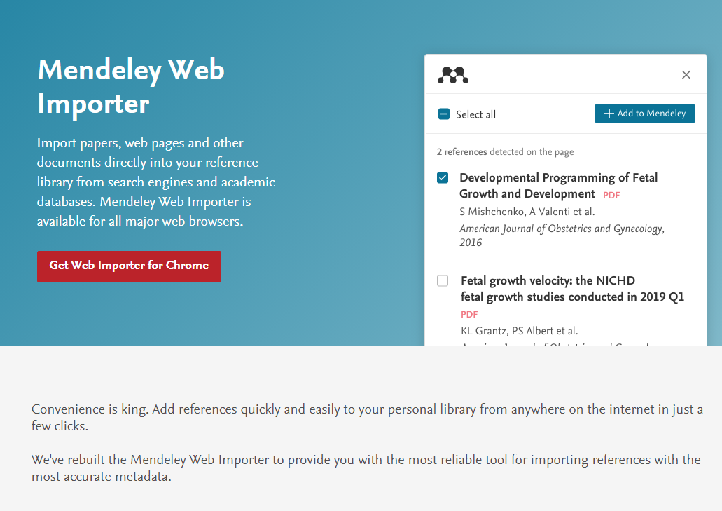 mendeley web importer screenshot