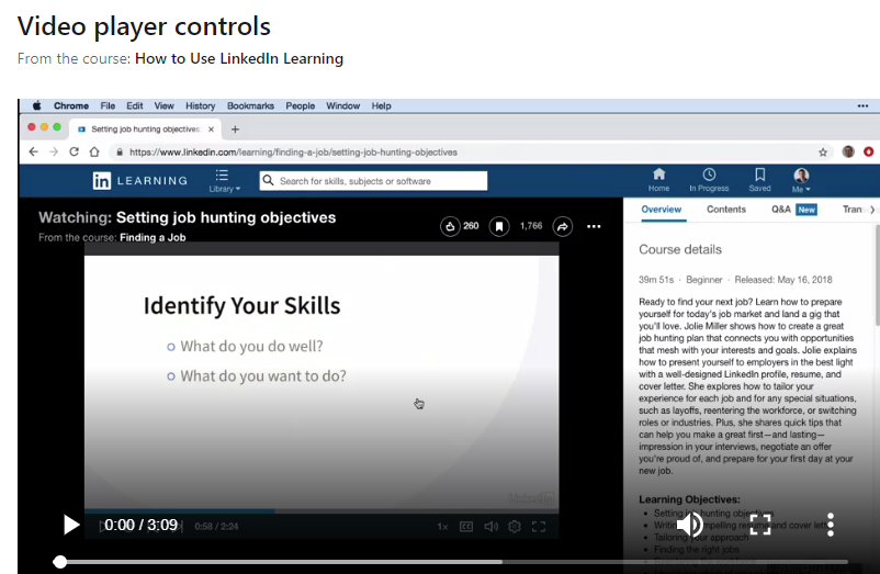 Video player controls course screenshot