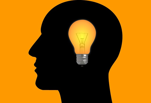 Image: light bulb in silhouette of head