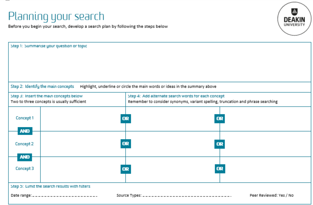 screenshot of the search planner