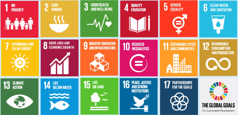 No poverty, zero hunger, good health and well-being, quality education, gender equality, clean water and sanitisation, affordable and clean energy, good jobs and economic growth, industry innovation and infrastructure, reduced inequalities, sustainable cities and communities, responsible consumption and production.