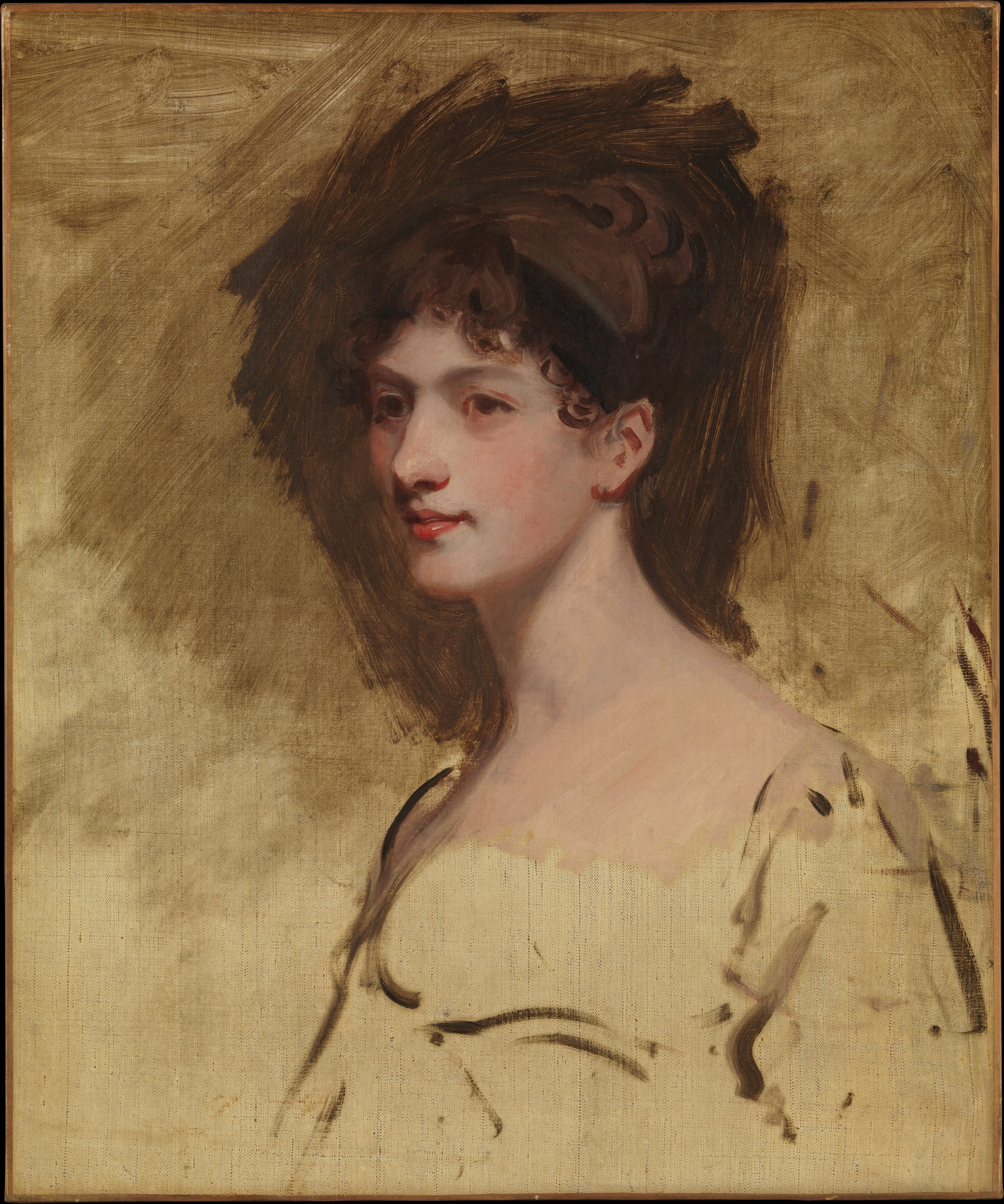 Sketch including partial painted area, young woman in profile