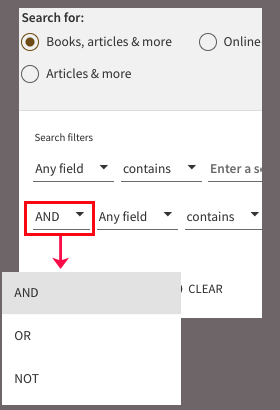 Advanced search boolean drop-down menu options - And Or Not