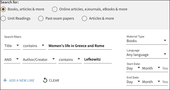 Advanced search finding a particular book example