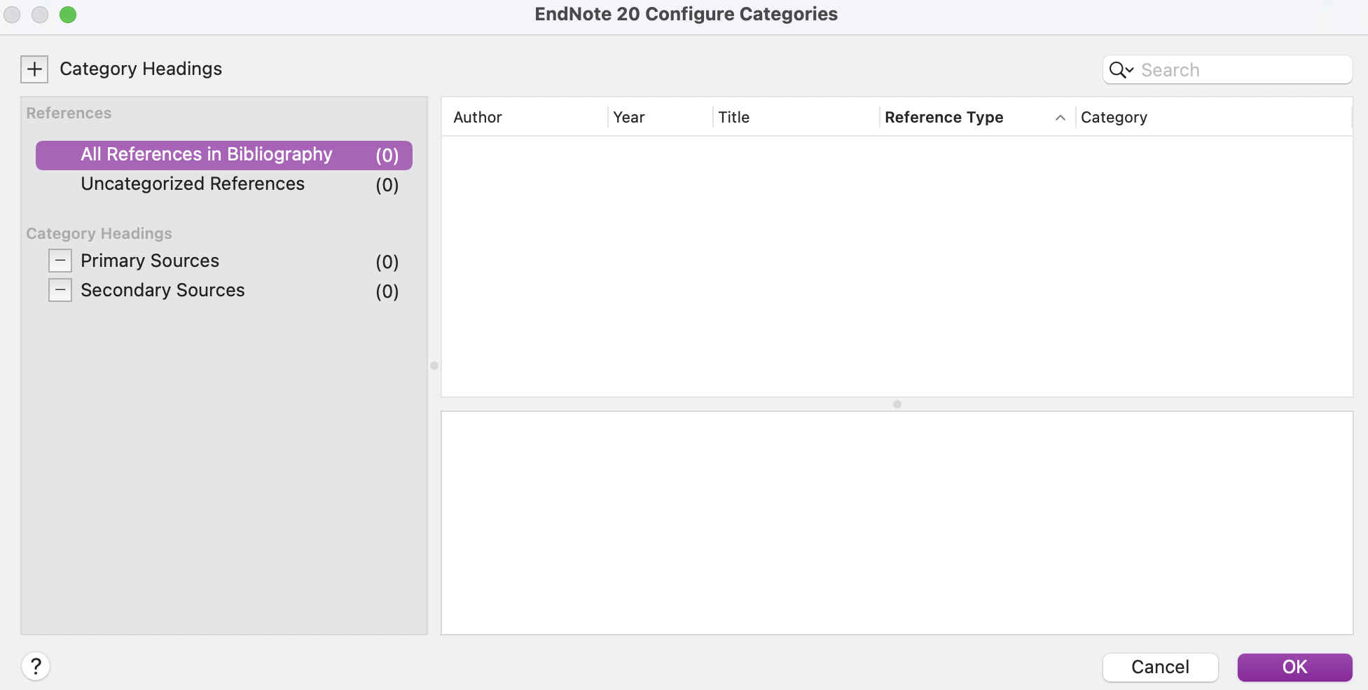 screenshot of Configure Categories popup window