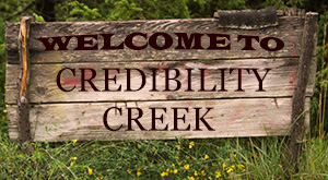 Sign: Welcome to credibility creek