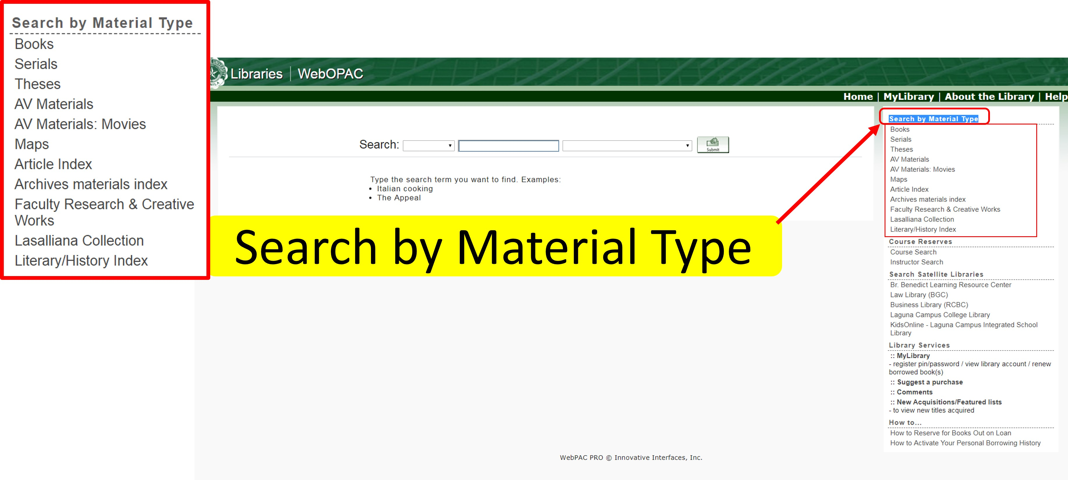 How to filter results using WebOPAC: Search by Material Type