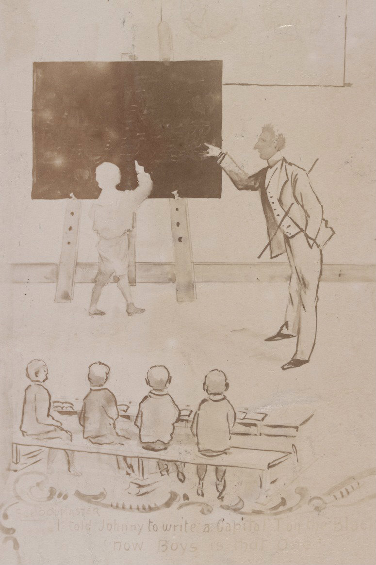 Photograph of a drawing of a school room scene featuring a teacher and a student standing at a blackboard, with other boys seated.