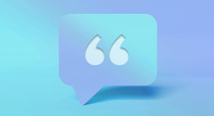 open inverted comma in speech bubble