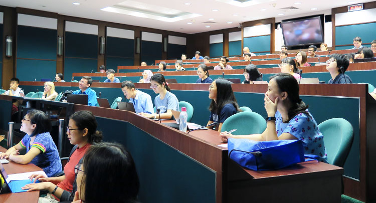 listeners in a lecture hall