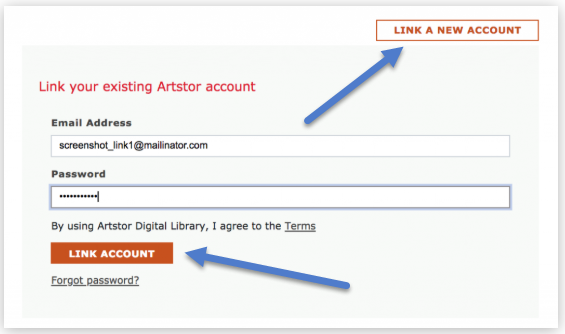 example of ArtStor linking new account screen