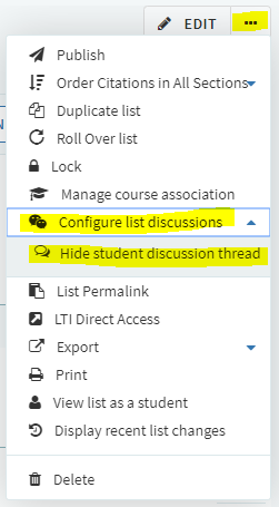 configure list discussions
