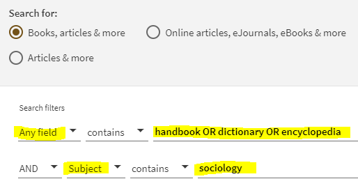 Sociology reference sources