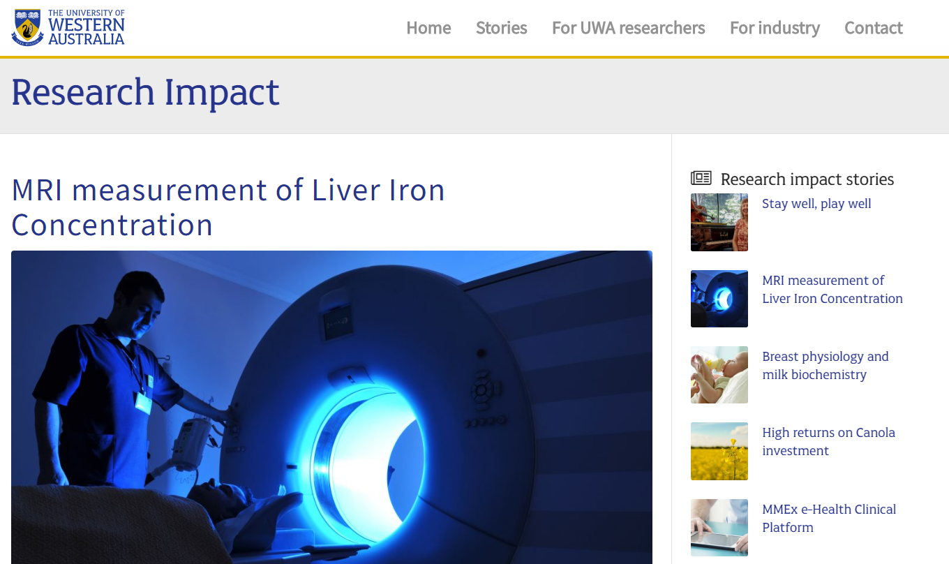 Research Impact Story MRI measurement of Liver Iron Concentration