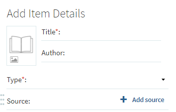 Add Item Details - Title Author Type...