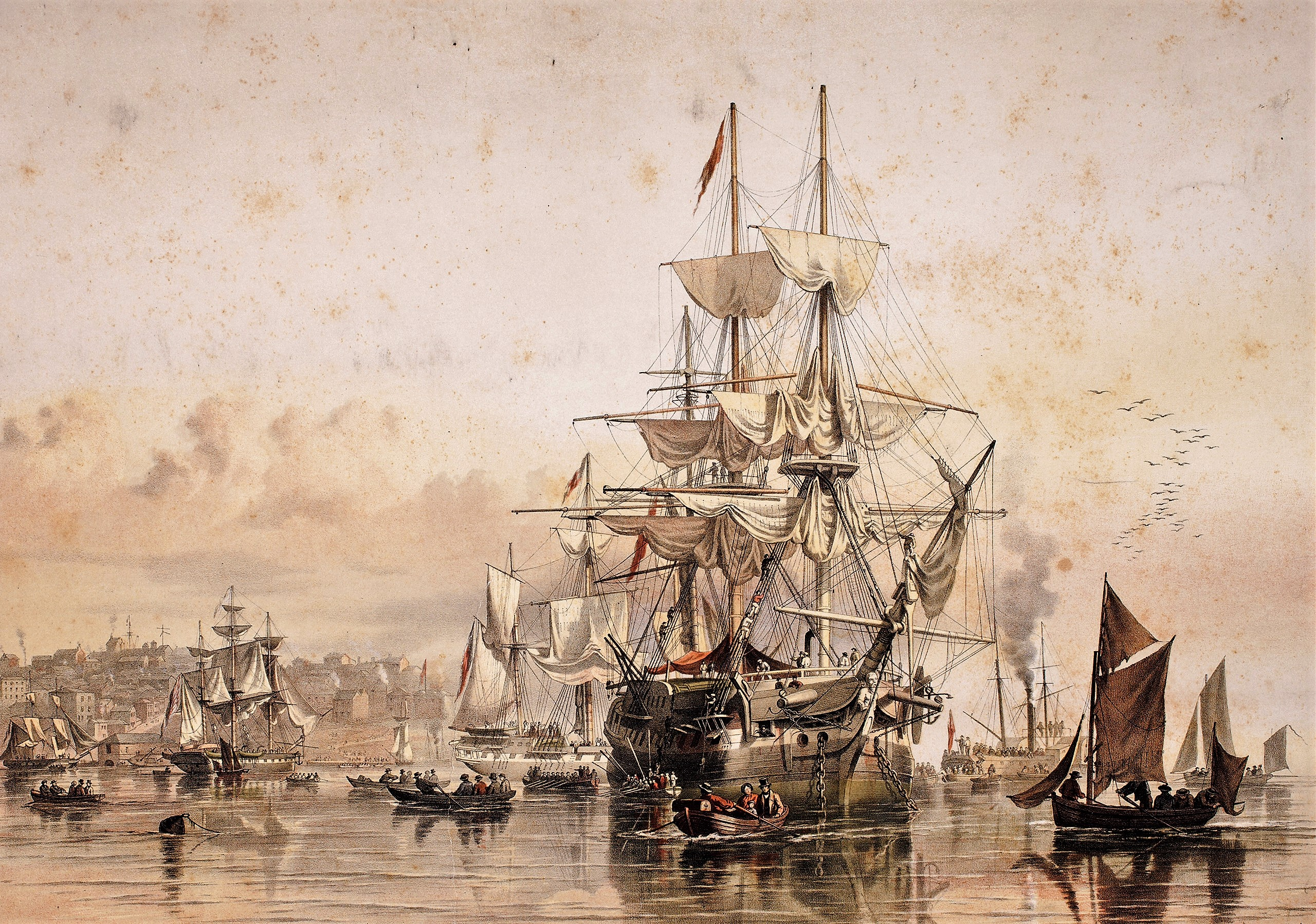 Sydney Cove, N.S.W. Emigrants Leaving the Ship / by O.W. Brierly, 1853