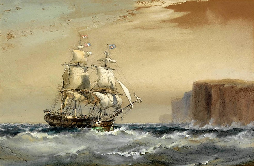Emigrant ship arriving off Sydney Heads, 1883 / watercolour by Oswald Brierly