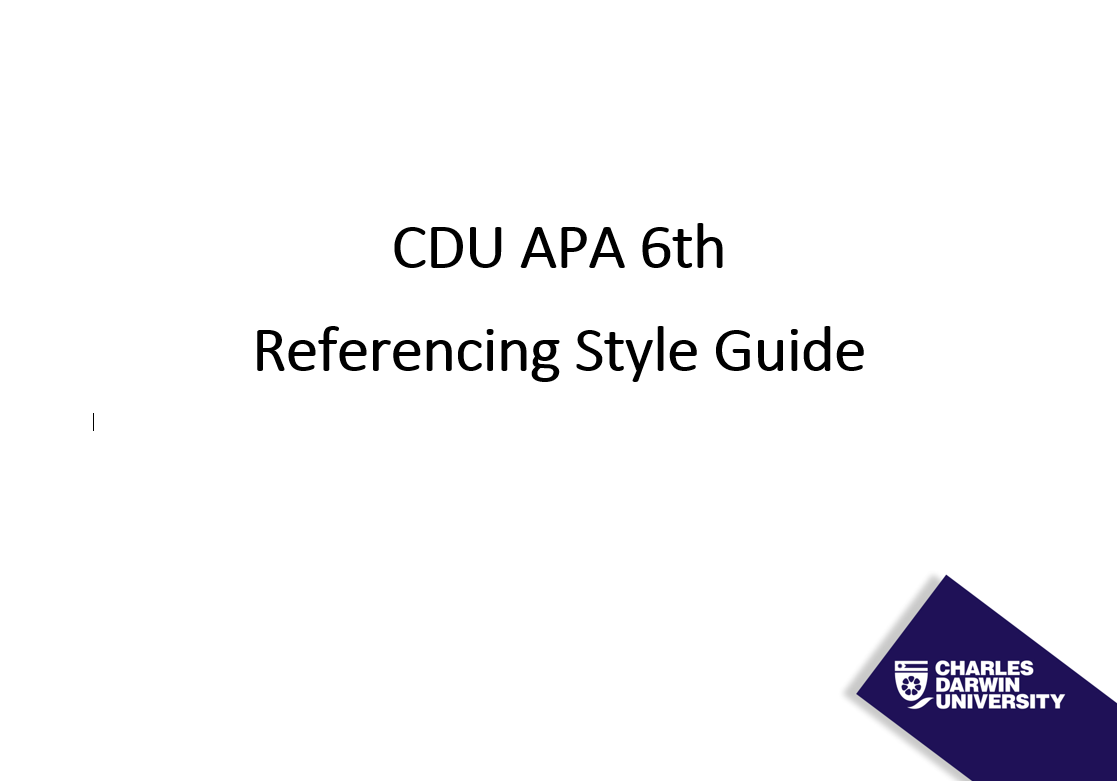 APA - Referencing Guide - LibGuides at Charles Darwin University