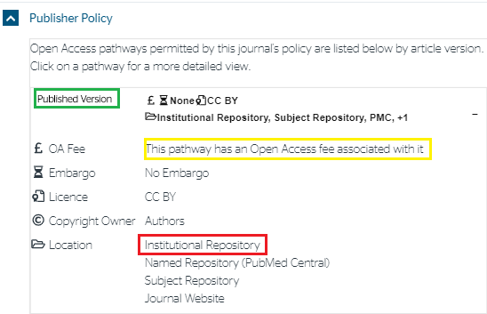 Sherpa Romeo Publisher Policy for Published version deposited into an institutional repository