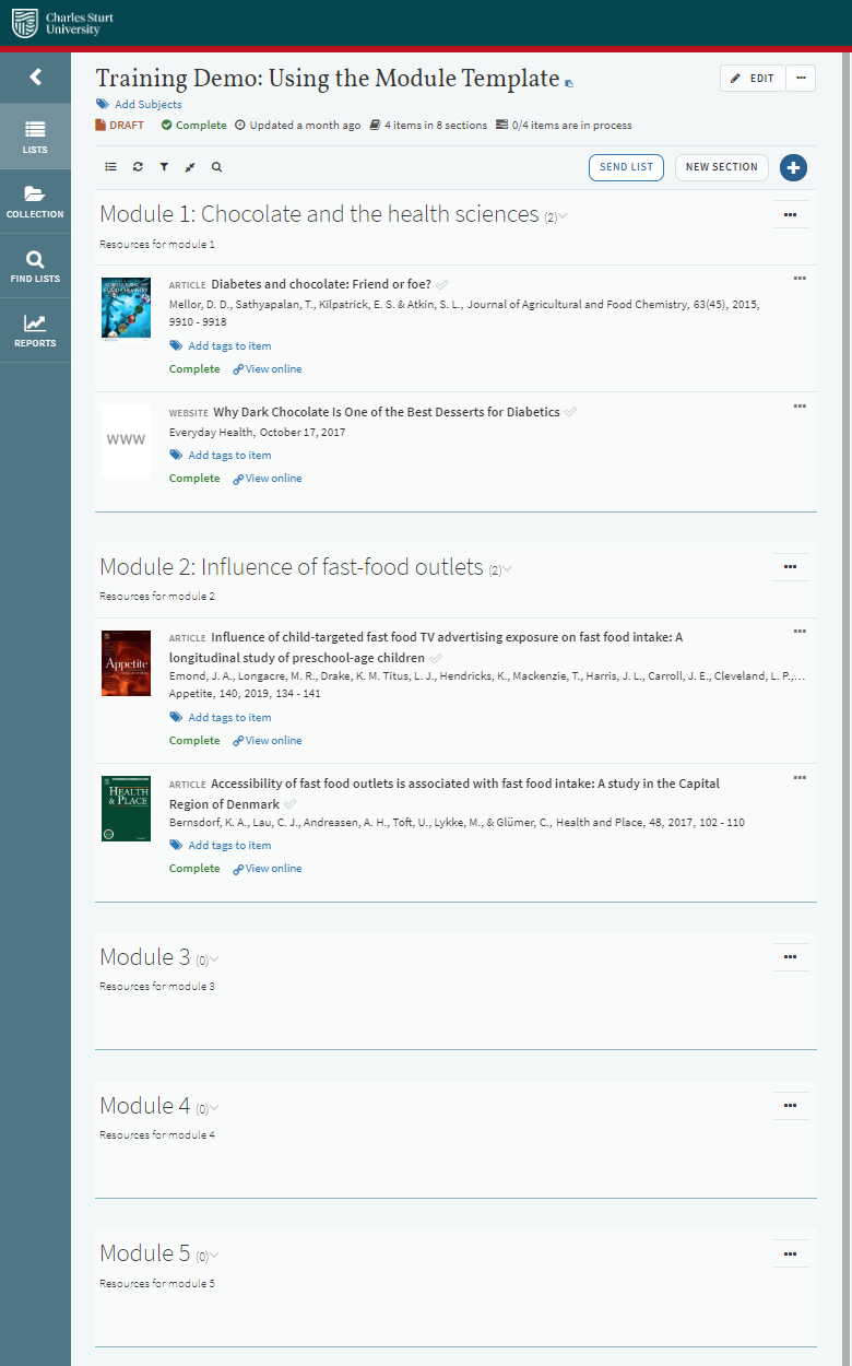 Example Leganto reading list layout - module template
