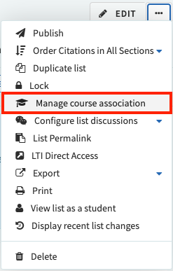 The ellipses menu in Reading Lists, with 'manage course association' highlighted by a red square.