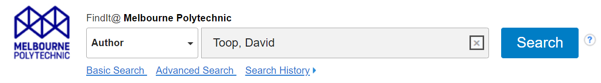 Screenshot of FindIt search. Author field is selected, search terms included in search box are Toop, David.