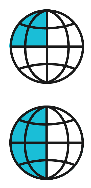 Two globes, the top globe representing a quarter, the bottom globe representing a half.
