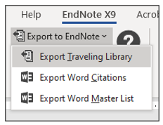Export to EndNote drop down menu in Word CWYW toolbar