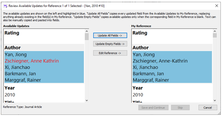 Find reference updates review window