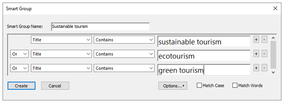 Smart Group window with options to set up group