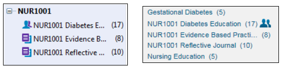 EndNote desktop and EndNote online groups shown side by side. The group set name is included as a prefix in the group name so they will display together in EndNote Online.