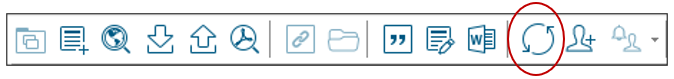 EndNote toolbar with Sync icon circled