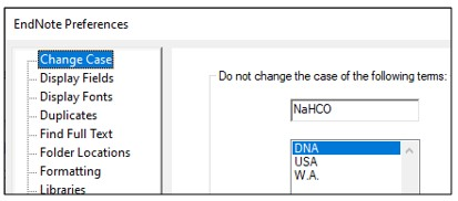 EndNote Preferences window with Change Case option selected