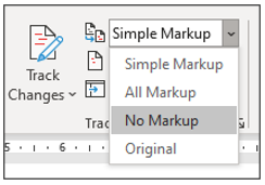 Track changes display for review drop down menu