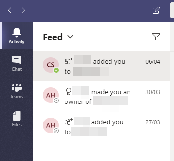 The activity feed shows all of your notifcations