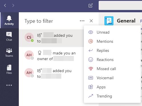 You can filter your activity feed a number of different ways