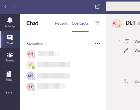 The chat app shows a list of chats and contacts from all your teams