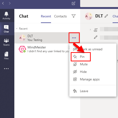 To pin a chat, select the 'more' icon and select 'pin'