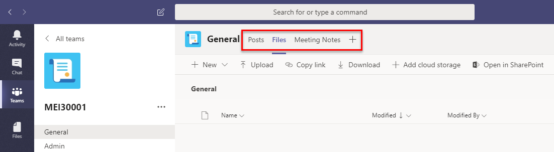 The tabs bar at the top of the panel contains links to Posts, Files, and Meeting Notes