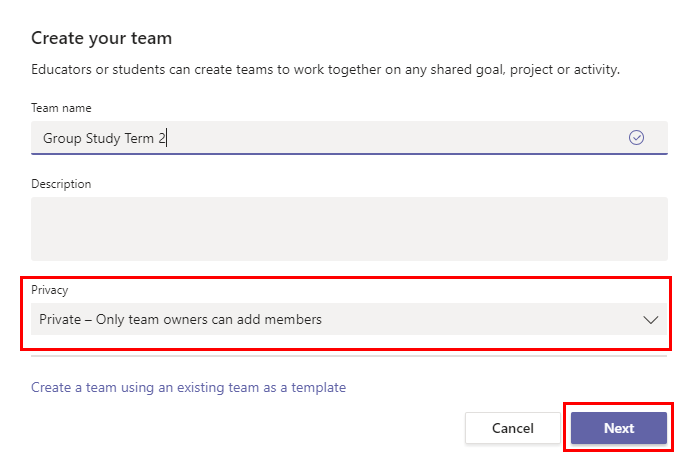 Select private as privacy when creating a team