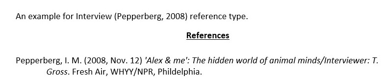 Interview reference type example.