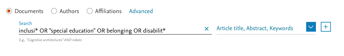 "screenshot of inclusi*  OR  ""special education""  OR  belonging  OR  disabilit* in Scopus search box"