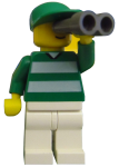 LEGO minifigurine with binoculars