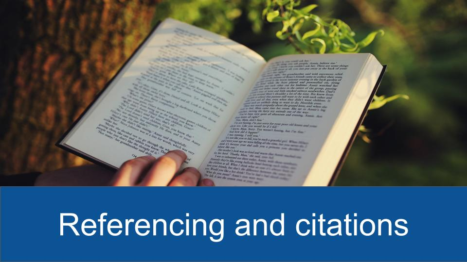 Referencing and citations button